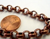 Heavy Copper Colored Large Link Rolo Chain 2 Feet
