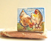Rustic Folk Art Chicken and Eggs Easter Ornament 2 Sided Original Acrylic Painting - Free Shipping Worldwide