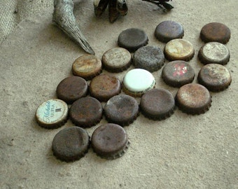 Rusty Metal Beer & Soda Recycled Bottle Caps Found Objects -  Assemblage, Altered Art or Sculpture Supplies