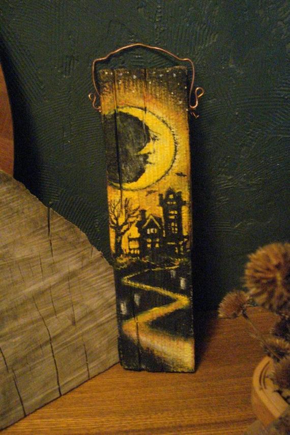 Primitive halloween folk art painting on reclaimed wood panel for Folk art craft paint