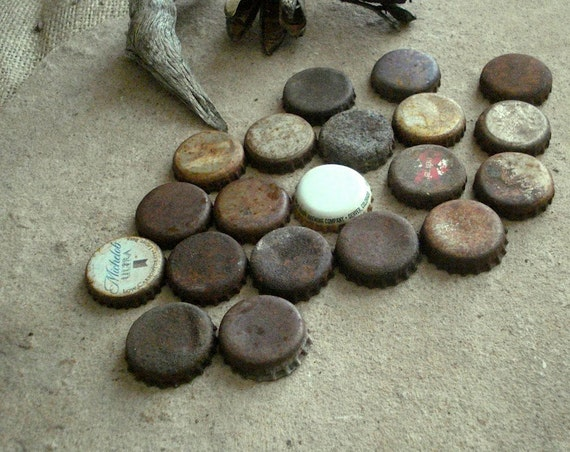 Rusty Metal Beer & Soda Recycled Bottle Caps Found Objects