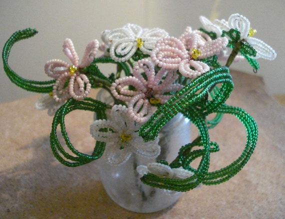 Vintage Victorian Beaded Pink & White Flower Bouquet for Home Decor