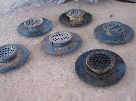 Oxidized Round Brass Metal Air Vents Findings Parts Found Object - Altered Art Sculpture Supplies Assemblage- Industrial Salvage