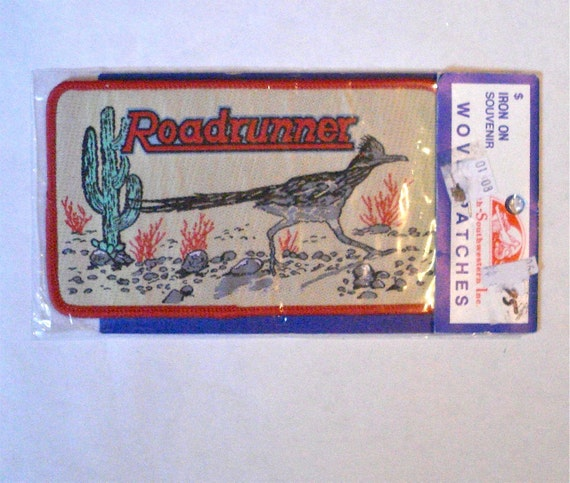 Vintage Roadrunner Desert Cactus Iron On Patch for Sewing or Crafts Unused Notion