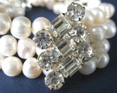 Bridal Bracelet, Three Strand Pearl Bracelet, Vintage Rhinestone, Handmade, Lynette