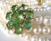 Pearl Bracelet, Spring Green Rhinestone Flower, Gold Slide Clasp, 4 Strand White Pearl Wedding Bracelet, Handmade, Spring Bride