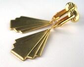 Curtain Fold Clip On Earrings, Gold Ear Clips, Brass Dangle Clipons, Short Art Deco Clip On Earrings