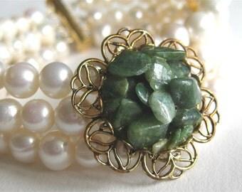 Pearl Bracelet, Green Stone Cluster, Gold Filigree, Three Strand Pearl Wedding Bracelet, Mossy Green, White Pearl Bridal, Handmade, Jeanette