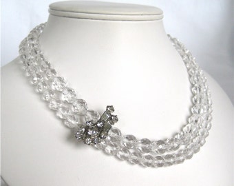 Clear Glass Necklace, Vintage Rhinestone Necklace, Silver, Faceted Clear Bead Necklace with Bling, Clear Rhinestone, Handmade, Geraldine