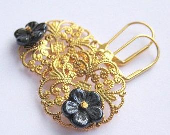 Gold Filigree Earrings, Dark Gray Flower Earrings, Lightweight Round Medallion Earrings, Lever Back Tropical Dangle, Handmade, Leila