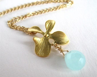 Flower Necklace, Pale Blue Teardrop Pendant Gold Necklace, Light Aqua Faceted Glass Drop, Gold Flower Orchid Delicate Necklace Handmade, Lia