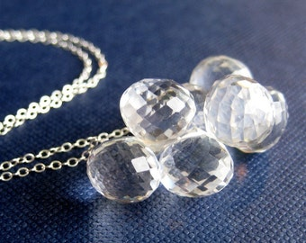 Clear Teardrop Cluster Necklace, Quartz Onion Briolettes, Sterling Silver Necklace, Handmade, Ice Kisses