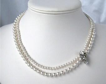 White Pearl Necklace, Vintage Rhinestone Accent, Silver Bridal Necklace, Two Strand Pearl Necklace, Dainty Wedding, Handmade, Emily
