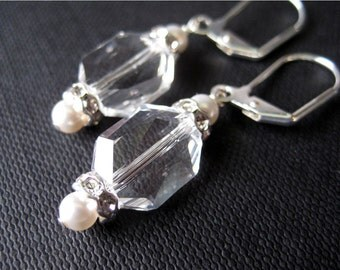 Clear Crystal Earrings, Pearl, Rhinestone, Silver Dangle Earrings, Handmade, June