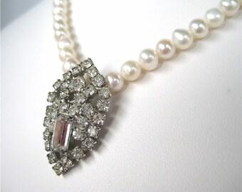 Pearl Necklace, Vintage Rhinestone, Single Strand Light Ivory Freshwater Pearls, Handmade, Shield
