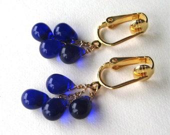 Ultramarine Blue Clip On Earrings, Gold Clipons, Deep Blue Glass Teardrop Dangle Clip Earrings, Handmade