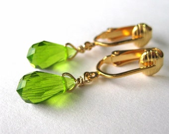 Green Drop Clip On Earrings, Gold Clip earrings, Glass Teardrop Clipons, Handmade, Apple Green