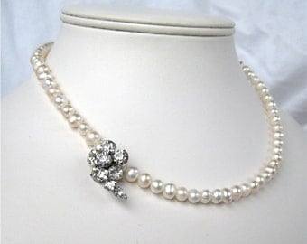 Pearl Necklace, Rhinestone Flower, Single Strand Freshwater Pearl Necklace, Handmade, Emma