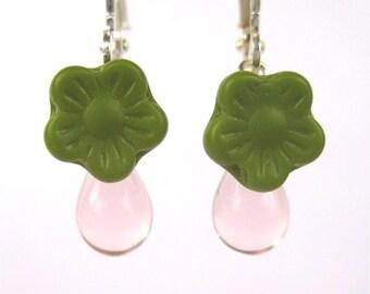 Pink Green Flower Earrings, Silver Dangle Earrings, Pale Pink Glass Teardrops, Chartreuse Green Flowers, Lever Back Ear Wires, Spring Garden