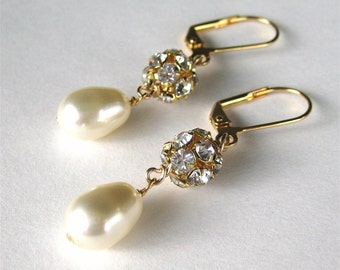 Cream Pearl Earrings, Rhinestones, Ivory Pearl Drop, Gold Bridal Earrings, Handmade, Mrs Sparkle