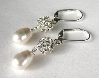 White Pearl Rhinestone Earrings, Pearl Teardrop Silver Earrings, Rhinestone Beads, Lever Back Ear Wires, Wedding Earrings, Mrs Sparkle