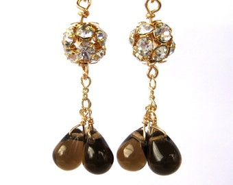Rhinestone Gray Teardrop Gold Earrings, Warm Gray Drops, Dark Taupe Glass, Gold Dangle Earrings, Handmade, Evening Out