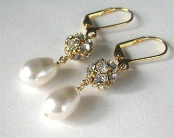 Pearl Drop Rhinestone Earrings, White Pearl Gold Bridal Earrings, Teardrop Weddingl Earrings, Handmade, Mrs Sparkle