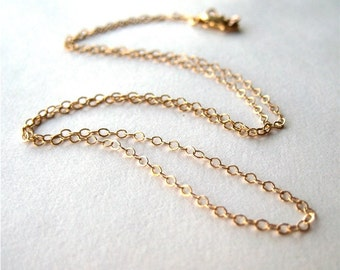 16 Inch Gold Filled Chain Necklace, Short Gold Chain Necklace, Fine Gauge Chain, Simple Necklace, Cable Chain, Lightweight Gold Filled Chain