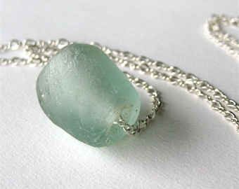 Recycled Glass Pendant, Blue Green Glass, Sterling Silver Necklace, Pale Seafoam, Naiad