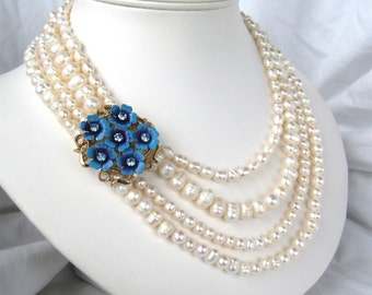 Blue Rhinestone Flower Bridal Necklace, 4 Strand Pearl Necklace, Gold, Handmade, Something Blue