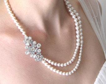 Wedding Necklace, Rhinestone Pearl Necklace, White Pearl, Handmade, Alyssa