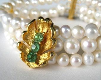 Gold Leaf Pearl Bracelet, Vintage Green Rhinestone, 3 Strand Pearl Wedding Bracelet, White Pearl Bridal Jewelry, Handmade, Garden Bride