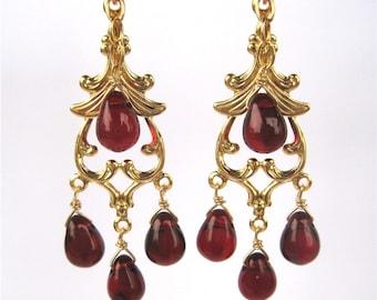 Garnet Red Chandelier Clip On Earrings, Gold Ear Clips, Dark Red Glass Drop Dangle Clipons, Burgundy Teardrops, Handmade, Delhi