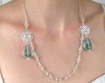 Crystal Necklace, Aqua Quartz Glass, Silver, Handmade, Henrietta
