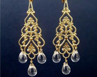 Gold Chandelier Clip On Earrings, Clear Teardrops, Bridal Clipons, Gold Raina Screw Back Clip Earrings