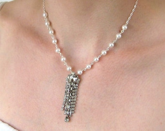 Dangling Rhinestone Pearl Necklace, White Pearl, Silver Necklace, Handmade, Melina