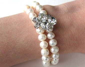 Pearl Rhinestone Bracelet, Two Strand Pearl Wedding Bracelet, Silver, Handmade, Sirah