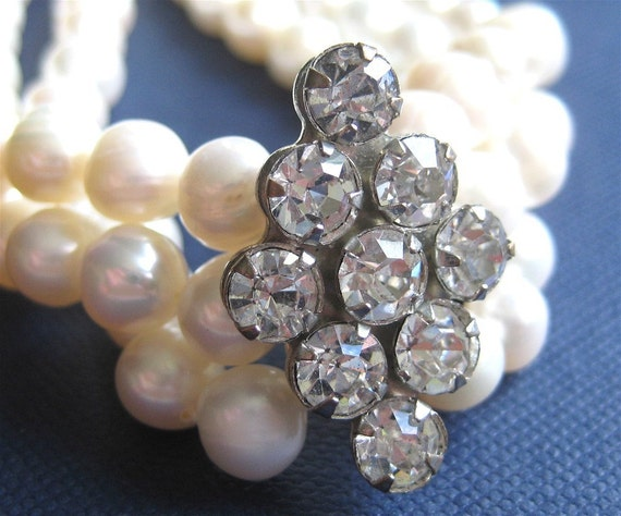 3 Strand Pearl Bracelet, Vintage Rhinestone Bridal Bracelet, Handmade, Gala
