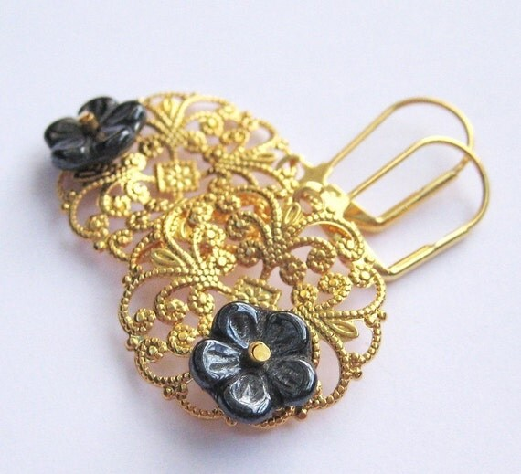 Gold Filigree Earrings, Dark Gray Flower Earrings, Lightweight Round Medallion Earrings, Lever Back Tropical Dangle, Handmade, Leila