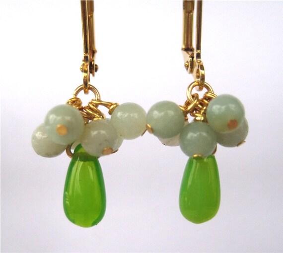 Petite Green Earrings, Light Blue Cluster, Gold Earrings, Spring Green Teardrops, Handmade, Little Esme