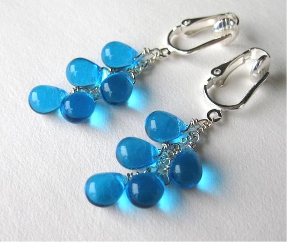 Bright Blue Clip On Earrings, Silver Ear Clips, Aqua Teardrop Cascade Clipons, Ocean Blue Glass Drop Clip Earrings, Handmade, Rio