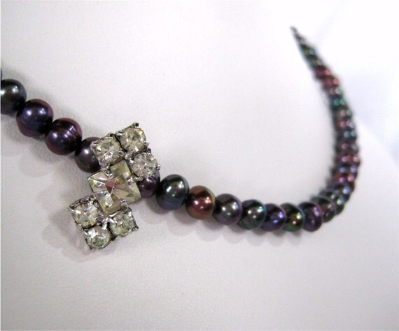 Dark Pearl Necklace, Vintage Rhinestone, Dainty Single Strand Pearl Necklace, Dark Peacock, Gray, Purple, Handmade, Ellie