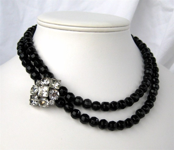 Formal Black Glass Necklace, Sparkly Rhinestone Accent, Two Strand Black Beaded Necklace with Bling, Silver Box Clasp, Handmade, Edith