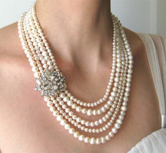 Five Strand Pearl Wedding Necklace Vintage Rhinestone By