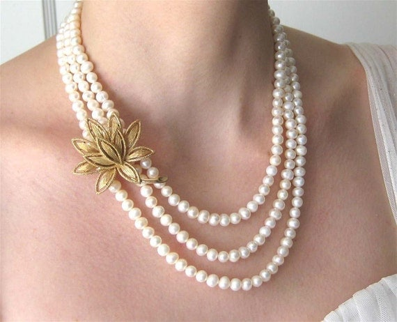 Reserved for C, Gold Flower Pearl Necklace, 3 Strand Wedding Necklace, Handmade, Lotus Bride