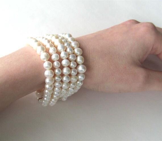 5 Strand Pearl Bracelet, Silver, Freshwater Pearl Wedding Bracelet, Light Ivory Pearls, Bridal Jewelry, Handmade, Lucy