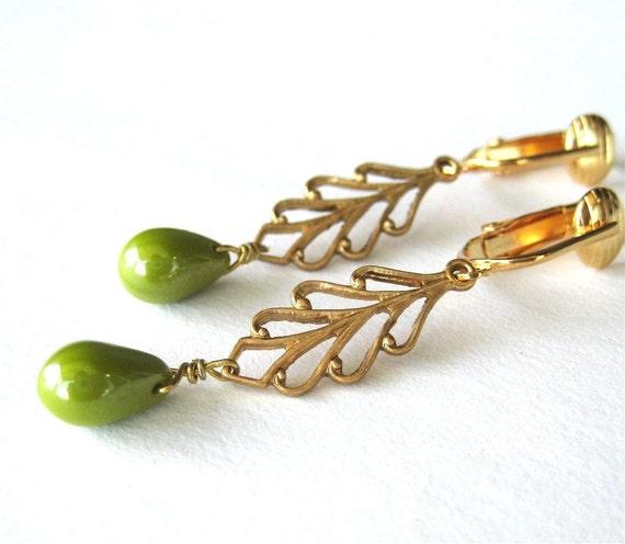 Olive Luster Drop Clip-on Earrings, Brass Leaf Clipons, Gold Ear Clips, Luminous Avocado Green Glass Teardrops, Golden Leaves, Mariana Green