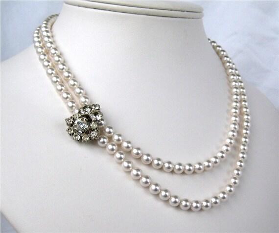 White Pearl Necklace, Vintage Rhinestone Wedding Necklace, 2 Strand, Silver, Handmade, Dora
