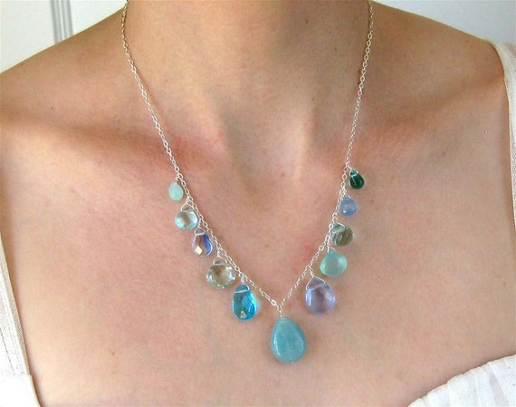 Blue Multi Pendant Necklace, Sterling silver Necklace, Gemstone Teardrops, Glass Drops, Handmade, Shades of Blue