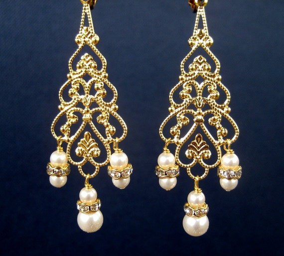 Bridal Chandelier Clip On Earrings Gold Screw Back Clipons – Clip on Earrings Chandelier